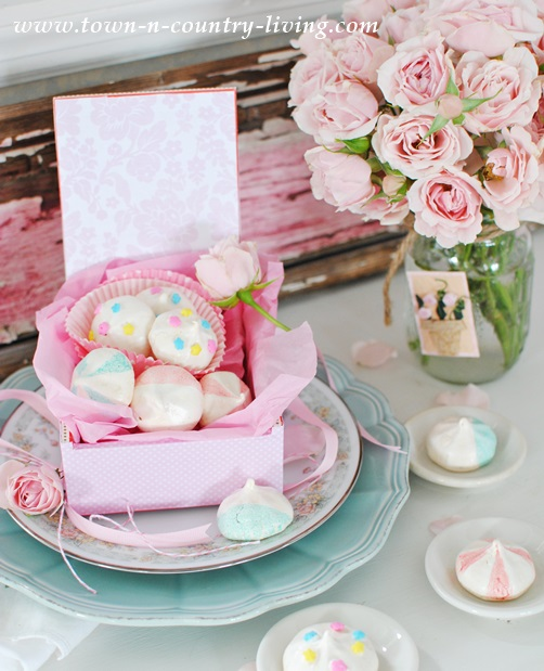 French-Meringues-and-Pink-Roses-for-Mother's-Day