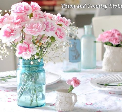 Decorating with Pink Flowers in a Blue Mason Jar