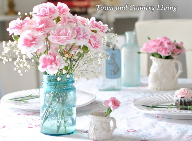 Decorating with pink flowers town country living decorating with pink flowers in a blue mason jar mightylinksfo