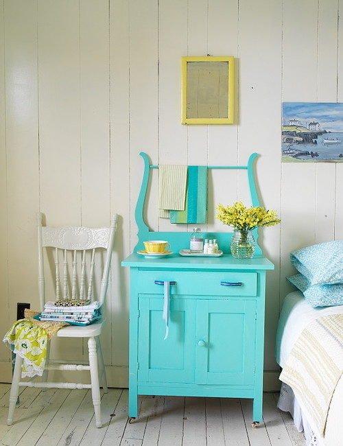 Aqua Painted Cottage Style Dresser
