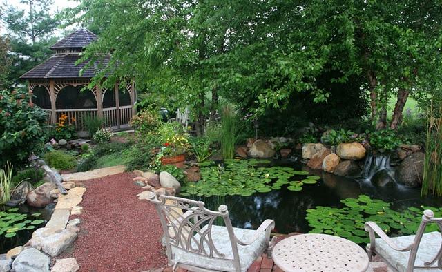 Great Backyard Pond With Gazebo