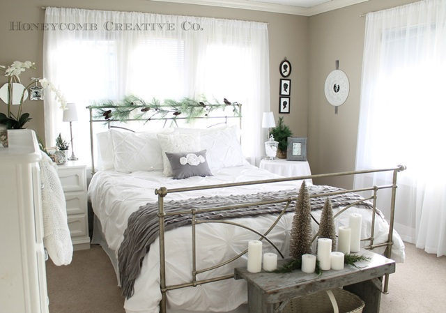 Cottage Style Bedroom Dressed for the Holidays