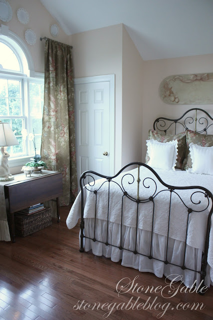 Guest Bedroom with Black Iron Bed