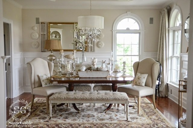 Charming traditional elegance shown in the dining room of StoneGable blog