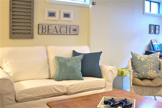 Coastal Cottage Style in Basement Family Room