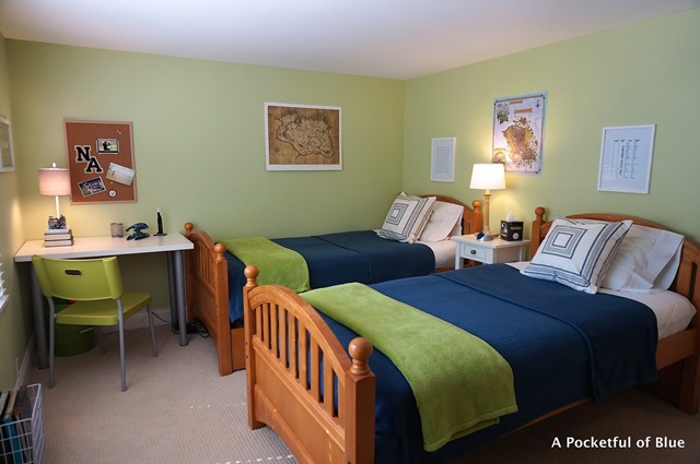 Boys Bedroom in Green and Blue