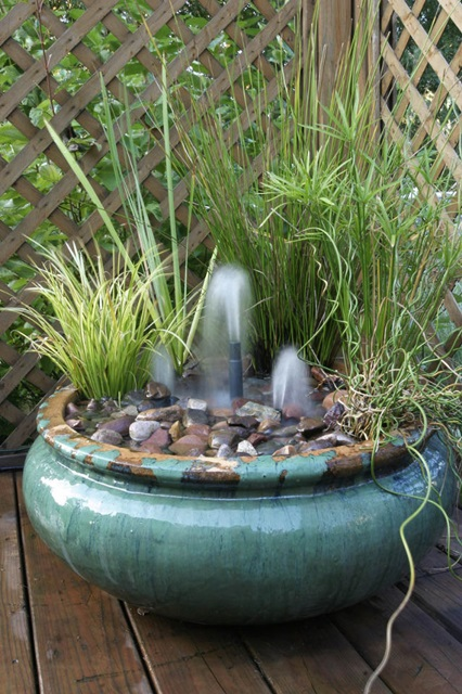 Create your own container water garden town country living for Simple water features for backyard
