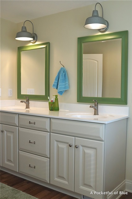 Cottage Style Bathroom with Apple Green Mirrors