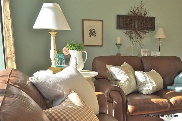 Sun filled cottage style living room at Pocketful of Blue
