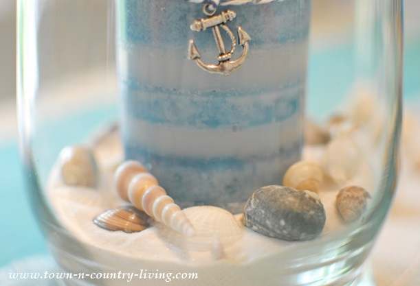 Seashells and Sand in Candle Holder
