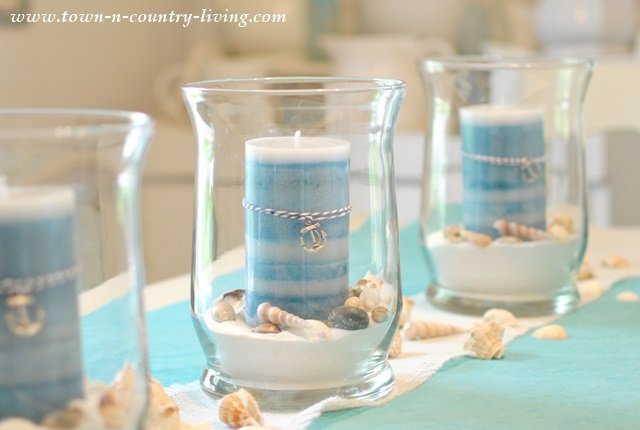 Summer Coastal Centerpiece with Candles and Seashells
