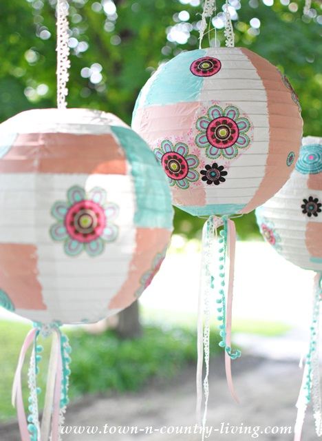 Trio of Decorated Paper Lanterns for a Party or Home Decor