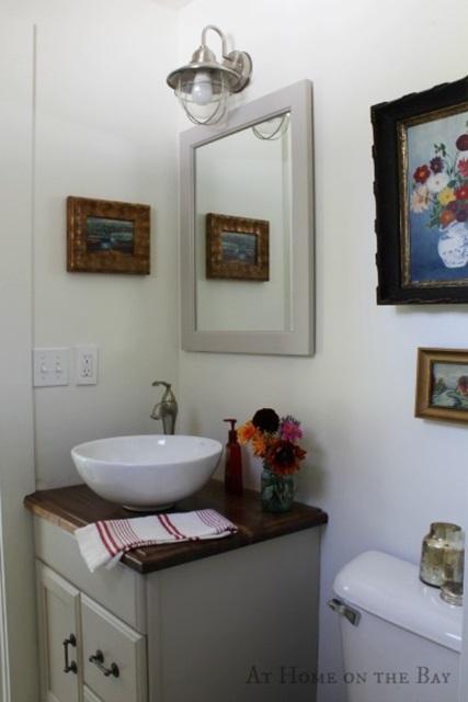 Farmhouse style bathroom in Maine home