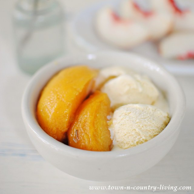 Canned Honey Lavender Peaches served with Vanilla Bean Ice Cream