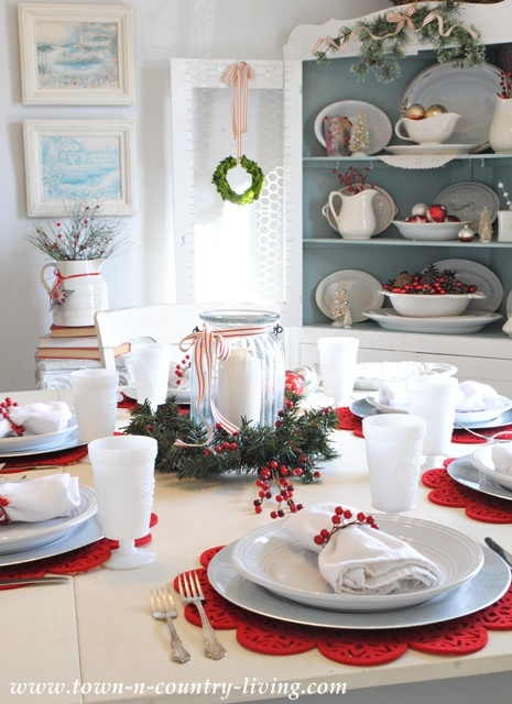 Farmhouse Christmas Dining Room set with white and red