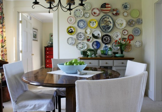Dining Room with a Fun Plate Wall