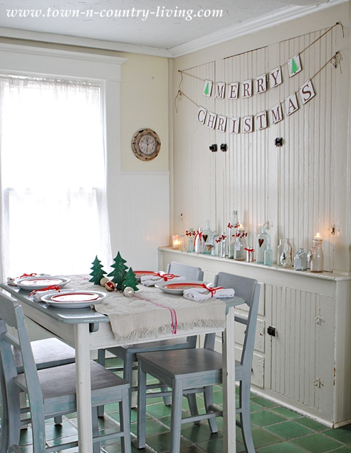 Farmhouse Kitchen Dining Nook Decorated for Christmas