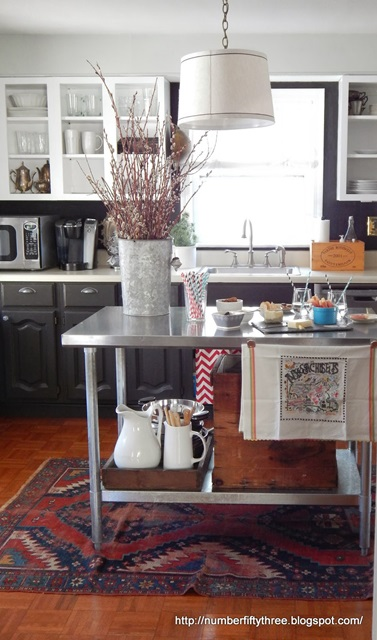 Industrial table becomes kitchen island