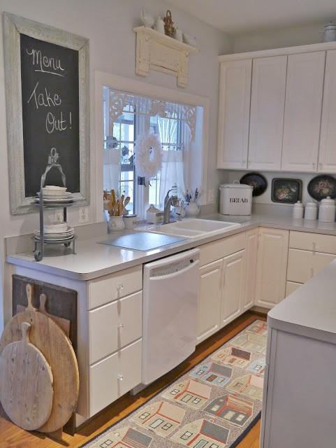 White Kitchen with Chalkboard Menu