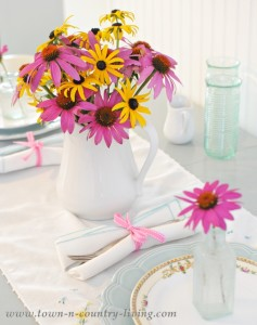 Simple Summer Table Setting with Garden Flowers