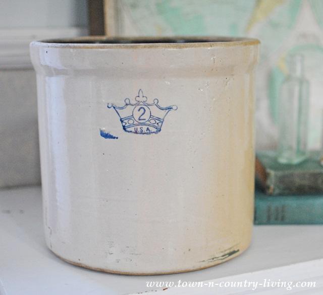 Vintage stoneware crock from Kane County Flea Market