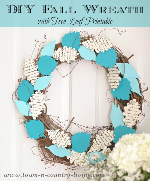 diy fall wreath and free leaf printable town country living