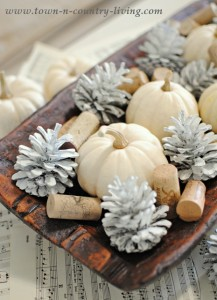 Fall Arrangement of Baby Boos and Painted Pine Cones - all in a wooden dough bowl