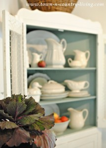 White Ironstone in Dining Room Hutch