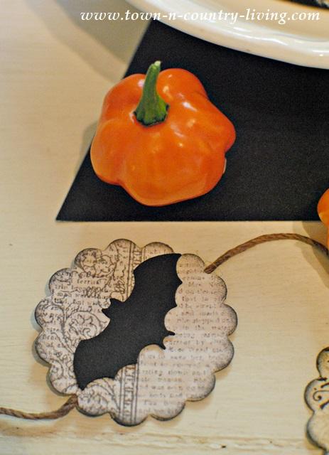 Orange Habanero Peppers with Halloween Garland