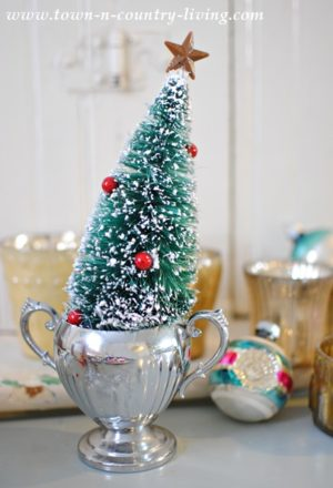 Vintage Christmas tree in a trophy cup