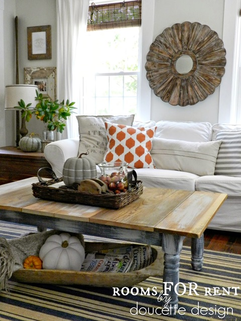 Rustic Living Room in Fall Home Tour