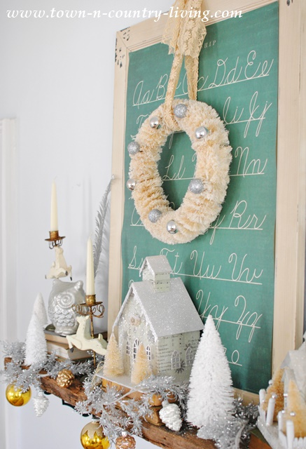 Vintage Christmas Mantel with Bottle Brush Wreath