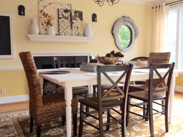 Home Decor. Modern Country Style Dining Room.