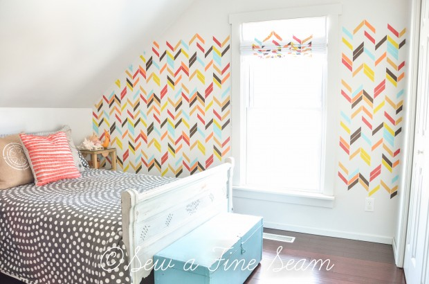 Girl's Room with Stenciled Wall