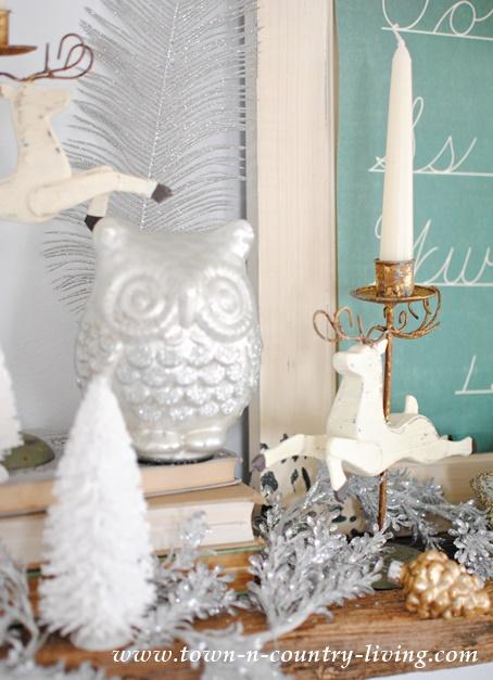Glitter Glass Owl on Vintage Christmas Mantel