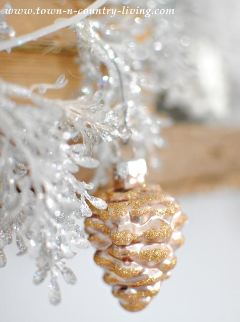Glitter Glass Pine Cone Ornament