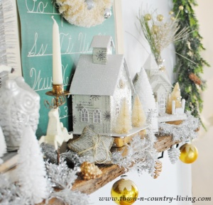Vintage Christmas Mantel with Putz Houses and Bottle Brush Trees