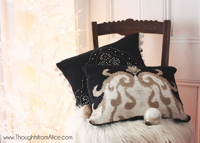 Holiday Throw Pillows from Sweaters