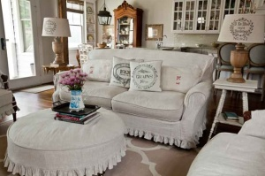 French Country Style Living Room with Slipcovered Furniture