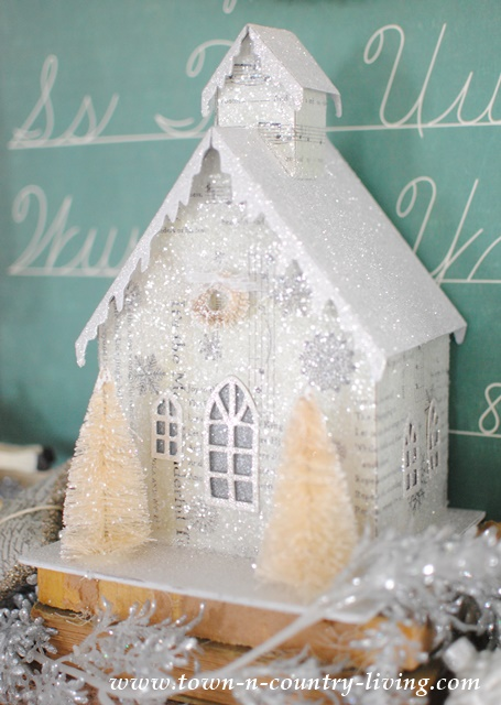 Glittery Putz House on a Vintage Christmas Mantel