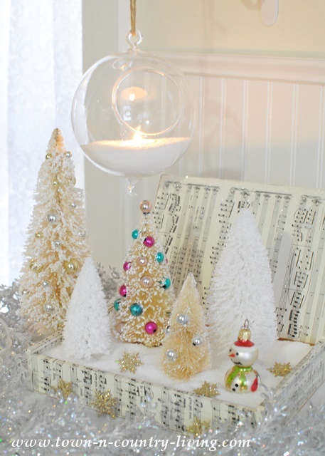 DIY Christmas Decor. Snowy Scene with Bottle Brush Trees.