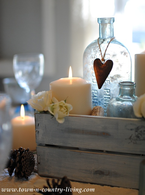 DIY Home Decor - Romantic Centerpiece with Candles, Bottles, and Flowers