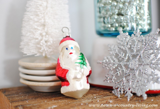 Vintage Santa Ornament with Bottle Brush Tree