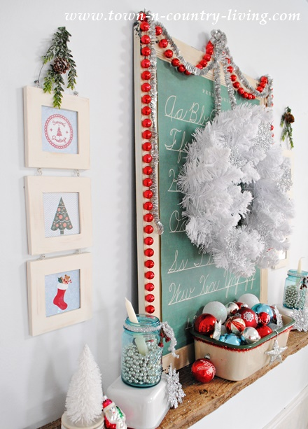Vintage Style Christmas Mantel with Free Printables for Framing.