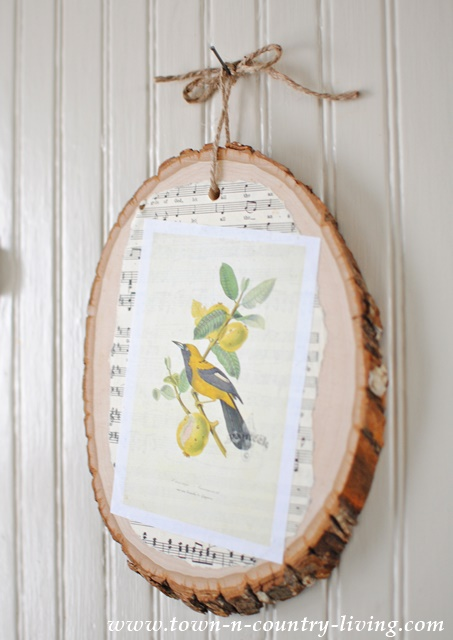 Bird Print on Wood Slice