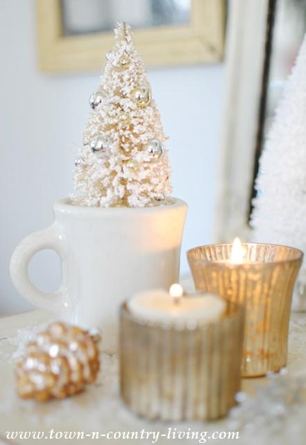 Bottle Brush Christmas Tree in Ironstone Shaving Cup