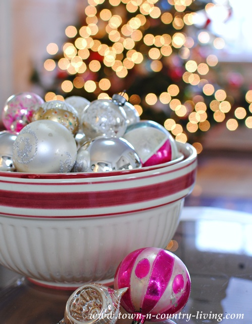 DIY Home Decor. Christmas bowl filled with vintage glass ornaments.