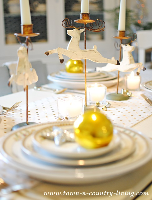 Holiday Table Setting in Gold and White