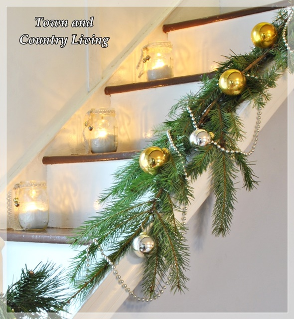 Christmas Stairway in Farm House