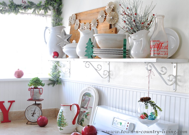 farmhouse kitchen shelves decorated for christmas